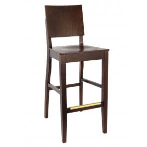 Modern Walnut Commercial Bar Stool with Square Back and Veneer Seat  (Back)
