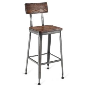 Reclaimed Wood-Back Steel Bar Stool