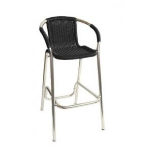 Aluminum and Wicker Patio Barstool in Black