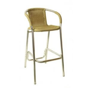 Aluminum and Wicker Patio Barstool
