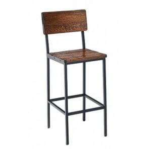 Reclaimed Wood Barstool with Black Steel Frame