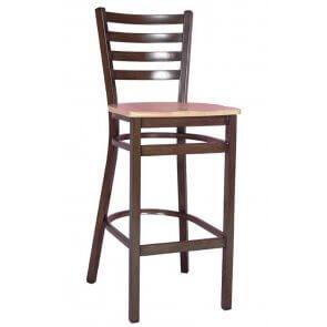 Wood Look Metal Ladderback Barstool