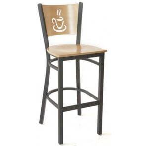 Cup O' Coffee Wood and Metal Barstool