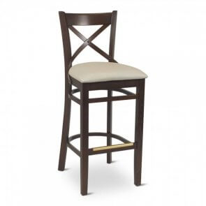European Cross Back Barstool With Upholstered Seat (Front)