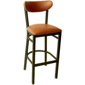 Upholstered Metal Kidney Barstool with Nailhead Trim