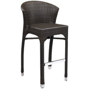 Aluminum & PE Weave Fanback Patio Barstool