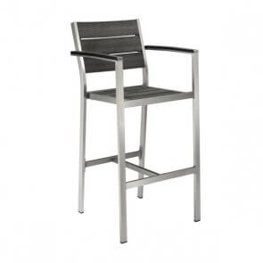 Aluminum Frame Outdoor Restaurant Bar Stool With Silver Synthetic Teak Slats With Arms (Front)