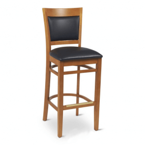 Wood Finish Commercial Bar Stool with Upholstered Seat & Back