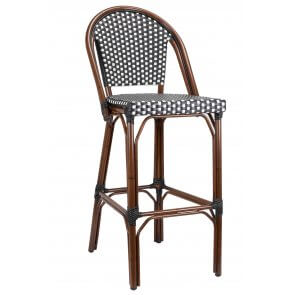 Marina Wicker and Bamboo Look Outdoor Bar Stool (Front)