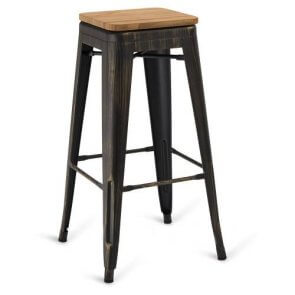 Indoor Steel Backless Barstool - Aged Copper Finish