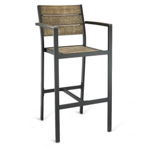 Black Frame Outdoor Arm Restaurant Bar Stool with Brushed Brown Synthetic Teak Slats