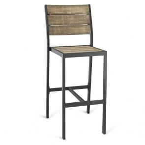Black Frame Outdoor Restaurant Bar Stool with Brushed Brown Synthetic Teak Slats