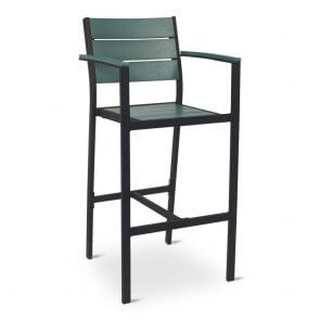 Black Frame Outdoor Restaurant Arm Bar Stool with Green Synthetic Teak Slats