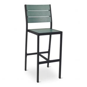 Black Frame Outdoor Restaurant Bar Stool with Green Synthetic Teak Slats