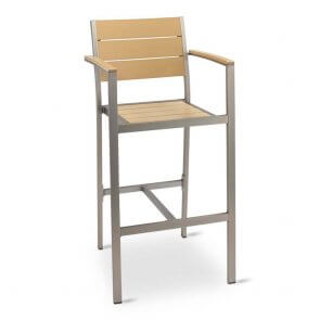 Brushed Aluminum Frame Outdoor Bar Stool with Tan Synthetic Teak Slats