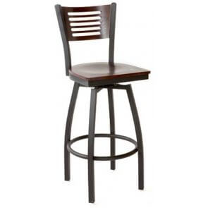 Metal and Wood Index Swivel Barstool