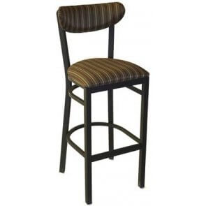 Upholstered Metal Kidney Barstool with Piping Trim
